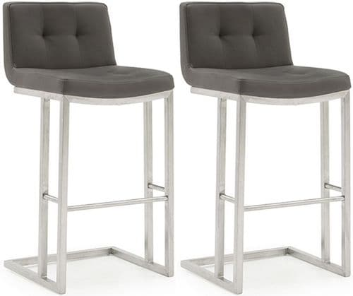 Cividale Industrial Style Grey PU Leather With Brushed Metal Bar Stool 218VD391