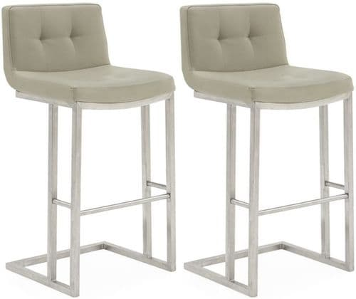 Cividale Industrial Style Taupe PU Leather With Brushed Metal Bar Stool 218VD392