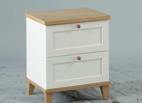Colmar White And Ash Veneer 2 Drawer Bedside 17LD37