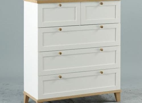 Colmar White And Ash Veneer 3+2 Drawer Chest 17LD39