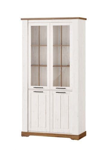 Cottage White Oak and Pine Effect Large Display Cabinet SZCO12