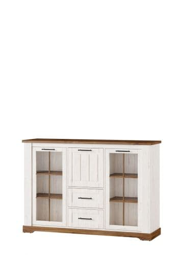 Cottage White Oak and Pine Effect Sideboard With Glass Doors SZCO48