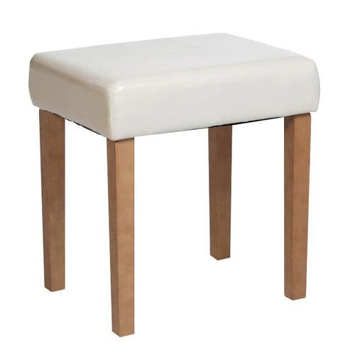 Demitri Upholstered Stool In Ivory Faux Leather