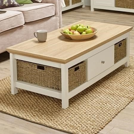 Dinan Cream And Oak Storage Coffee Table 19LD469