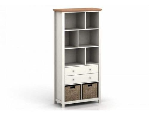 Dinan Cream And Oak Tall 2 Drawer Bookcase 19LD471