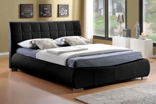 Dorado Black Faux Leather 4ft6 Double Bed - LLB