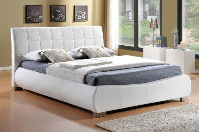 Dorado White Faux Leather 6ft Super King Size Bed - LLB
