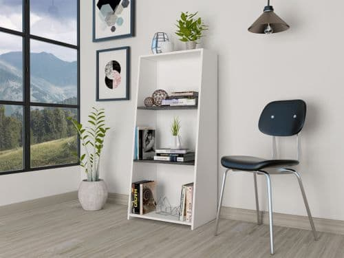 Dova Short Bookcase Shelving Unit in White and Carbon Grey -  DL203