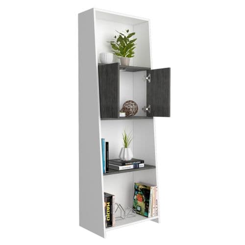 Dova Tall Bookcase Shelving Unit With 2 Doors in White and Carbon Grey -  DL204