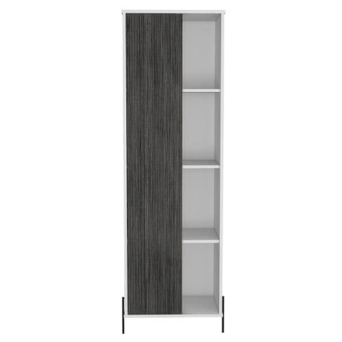 Dova Tall Storage Display Cabinet  With 1 Door in White and Carbon Grey -  DL903