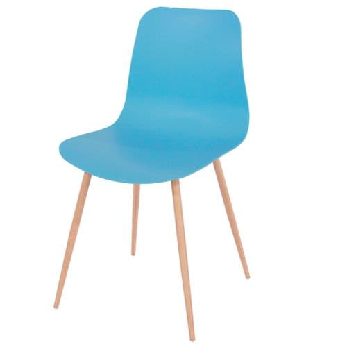 Elk Blue Plastic Chair With Wooden Effect Metal Legs ASCH7BU (Pair)
