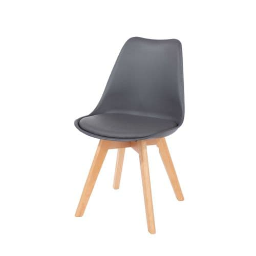 Elk Dark Grey Upholstered Plastic Chair With Wooden Legs ASCH2DG (Pair)