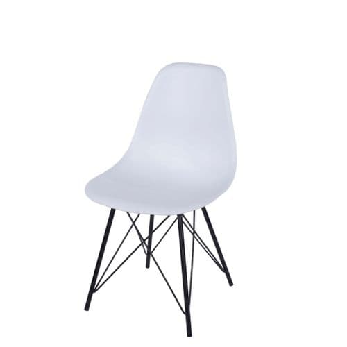Elk White Plastic Chair With Black Metal Legs ASCH8W (Pair)