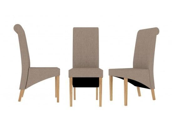 Essonnes Beige Twill Style Fabric Set Of 2 Dining Chairs 17LD566