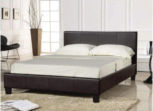 Falaise Brown Faux Leather Double Bed 17LD195