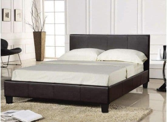Falaise Brown Faux Leather Single Bed 17LD194