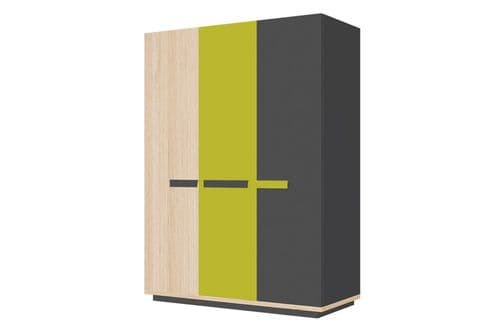 Fenwik Graphite And Green 3 Door Large Wardrobe SZWO05