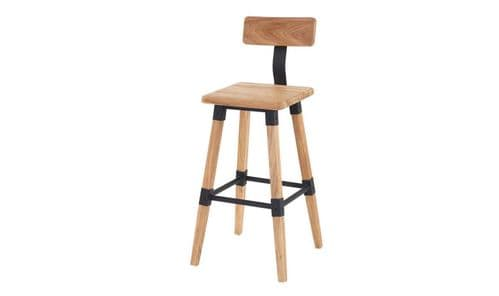 Ferentino Industrial Style Natural Elm Wood Bar Stool 218VD514