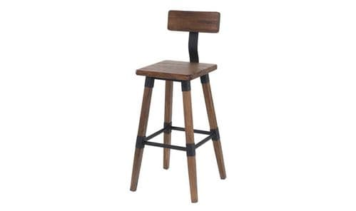 Ferentino Industrial Style Rustic Elm Wood Bar Stool 218VD515