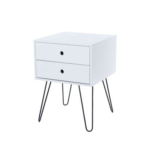Fina Ford White & Metal 2 Drawer Bedside Cabinet BS710