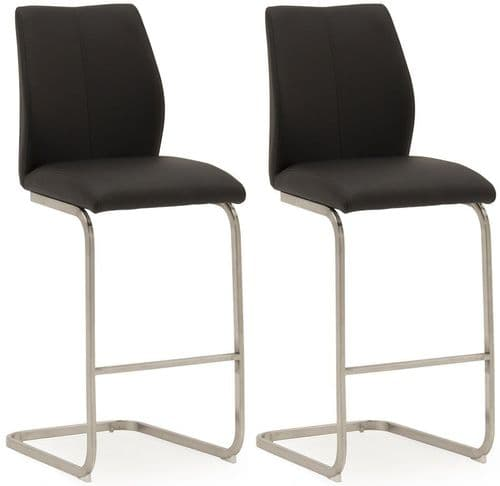 Fondi Black Faux Leather With Brushed Steel Of Bar Chair (Pair) 218VD518