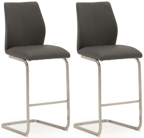Fondi Grey Faux Leather With Brushed Steel Bar Chair (Pair) 218VD519