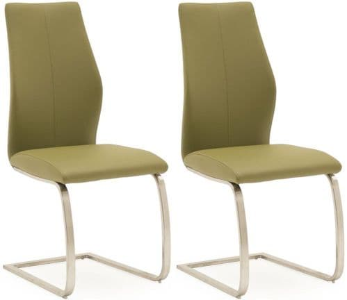 Fondi Olive Faux Leather With Brushed Steel Dining Chair (Pair) 218VD527