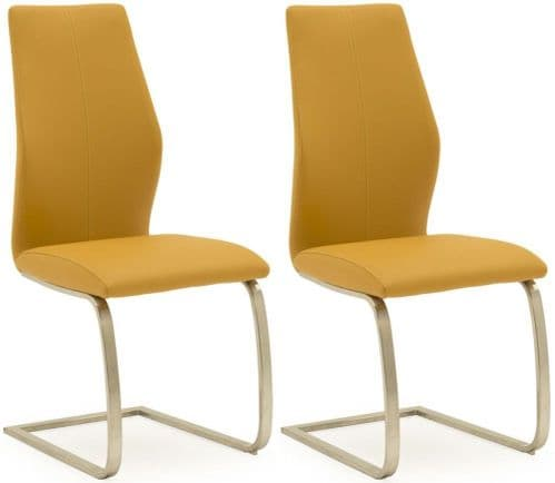 Fondi Pumpkin Faux Leather With Brushed Steel Dining Chair (Pair) 218VD528