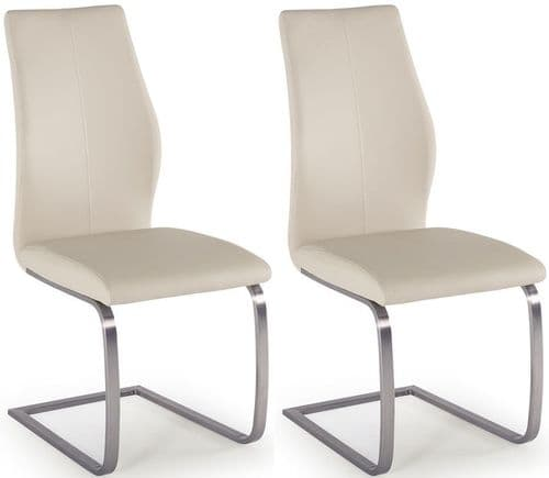 Fondi Taupe Faux Leather With Brushed Steel Dining Chair (Pair) 218VD529