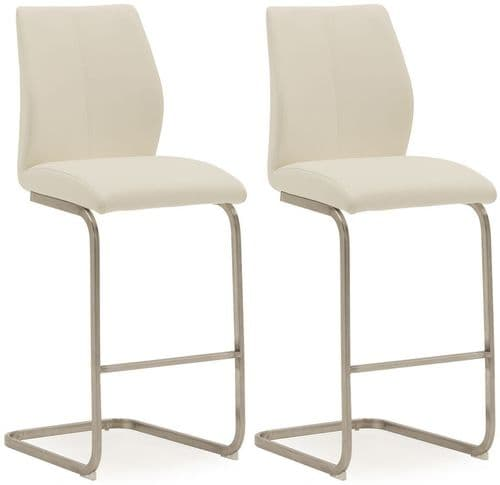 Fondi White Faux Leather With Brushed Steel Bar Chair (Pair) 218VD523