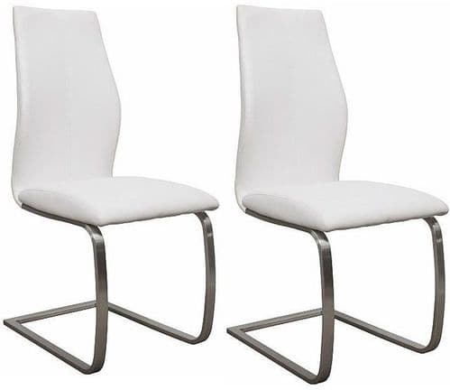 Fondi White Faux Leather With Brushed Steel Dining Chair (Pair) 218VD530