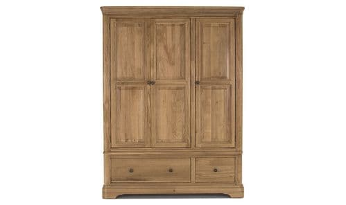 Forio Solid Oak Oiled Finish 3 Door Wardrobe 18VD240