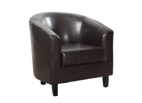Fougeres Brown Faux Leather Tub Chair 17LD520