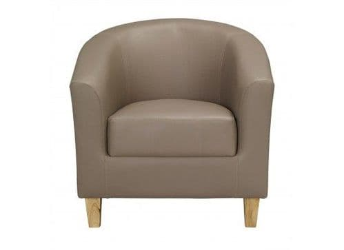 Fougeres Taupe Faux Leather Tub Chair 17LD520