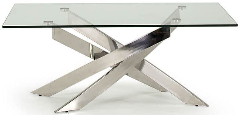 Gaeta Stainless Steel And Tempered Glass Coffee Table 218VD554