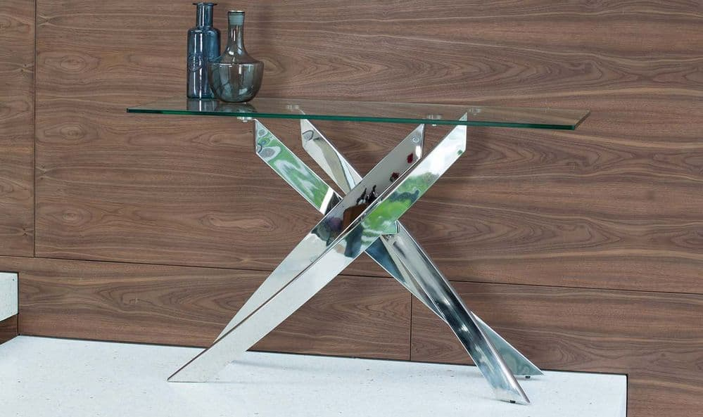 Gaeta Stainless Steel And Tempered Glass Console Table 218VD555