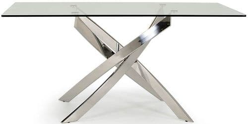 Gaeta Stainless Steel And Tempered Glass Rectangle Dining Table 218VD552