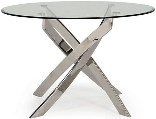 Gaeta Stainless Steel And Tempered Glass Round Dining Table 218VD553