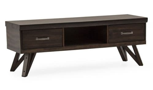 Gandolfo Industrial Style Walnut Veneer With Metallic Effect Rectangular TV Unit 218VD481