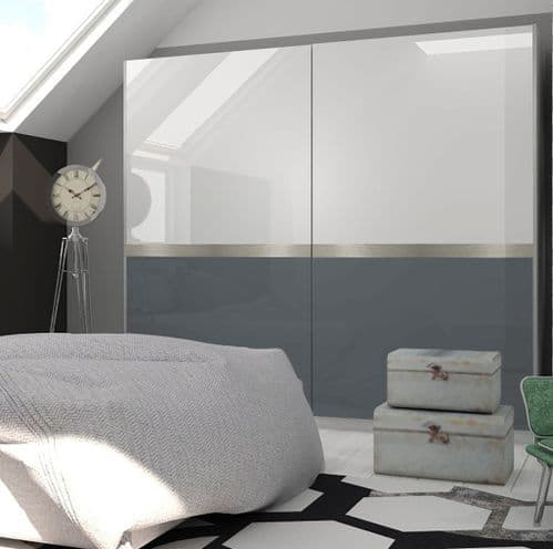 Glacia White Gloss With Graphite Sliding Door Wardrobe
