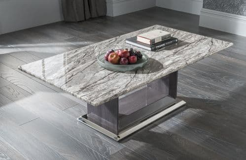Guastalla Grey High Gloss Marble With Polished Metal Rectangle Coffee Table 218VD357