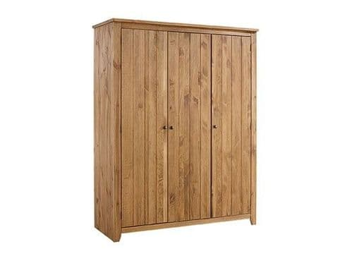 Haguenau Pine Wood Aztec Wax Finish 3 Door Wardrobe 17LD63