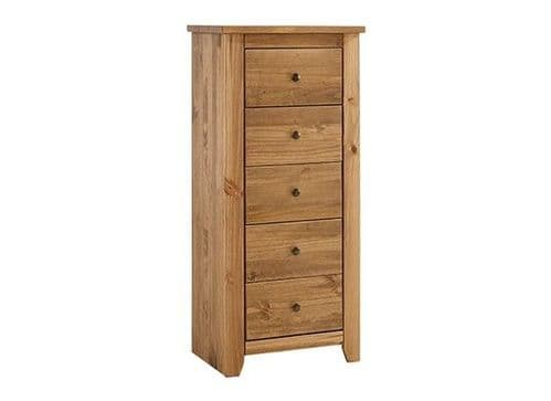 Haguenau Pine Wood Aztec Wax Finish 5 Drawer Narrow Chest 17LD61