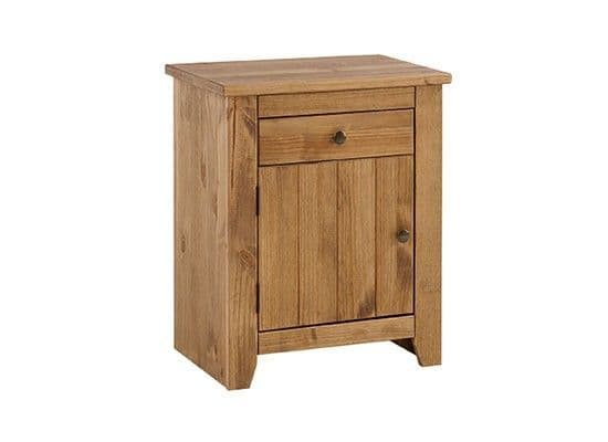 Haguenau Pine Wood Aztec Wax Finish Bedside Table 17LD59