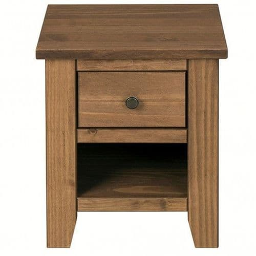 Haguenau Rustic Pine Finish 1 Drawer Lamp Table 19LD384