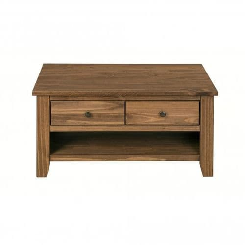 Haguenau Rustic Pine Finish 2 Drawer Coffee Table 19LD380