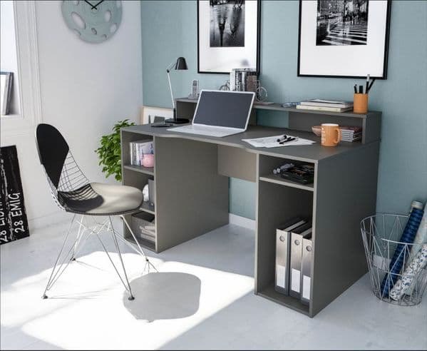 Haile Dark Grey Study, Writing, Office Desk with Hutch and Storage