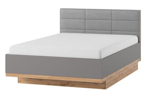 Hilton Grey With Oak Effect King Size Bed SZLV66
