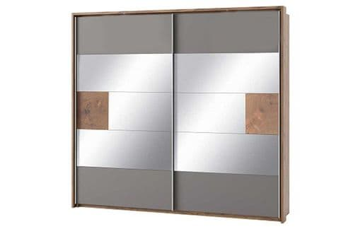 Hilton Grey With Oak Effect Mirrored Sliding Door Wardrobe SZLV73