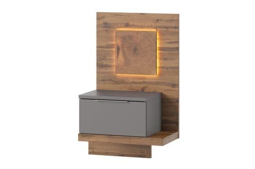 Hilton Grey With Oak Effect RIGHT Bedside Table SZLV68